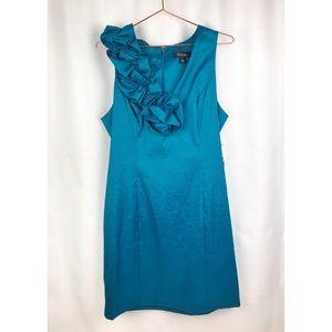 S.L Fashions Ruffleneck Blue Cocktail Dress